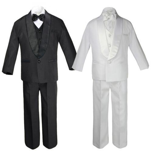 20 Teen White Blac Suit Shawl Lapel Tuxedo Vest Set Baby Toddler Boy Sm