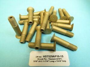 """40 Titanium 5//16""""-24 x 1-1//8"""" Long Hi-Lok Aerospace Pin Bolt HL10VAZ10-10"""
