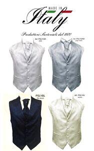 Gilet-uomo-sartoriale-elegante-cerimonia-paisley-grigio-blu-con-plastron