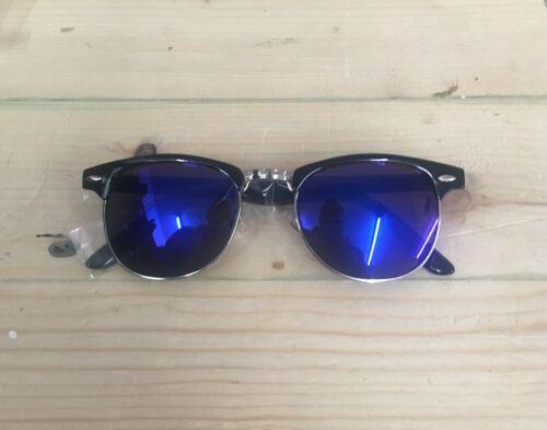 Bleu Noir Lentilles 1950 S Vintage Lunettes de soleil homme femme UV demi cerclée
