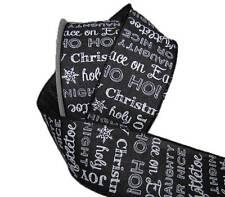5 Yards Christmas Words Chalkboard Black White Burlap Like Wired Ribbon 2 1/2