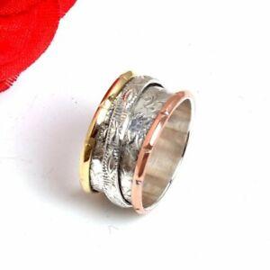 Solid-925-Sterling-Silver-Spinner-Ring-Meditation-Ring-Statement-Ring-Size-sr33