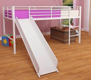 White Loft Bunk Bed Slide Twin Tent Kids Girls Fort Metal Fantasy