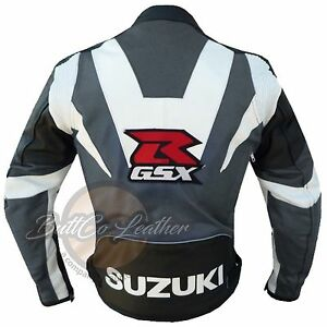 SUZUKI GSX Motorbike Biker Cowhide GREY Leather Armoured Jacket for motorcyclist