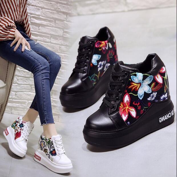 Para mujeres Estampado Floral Tenis con Cordones Tacones Altos Altos Altos Zapatos De Plataforma Cuña Ocultos  Envío y cambio gratis.