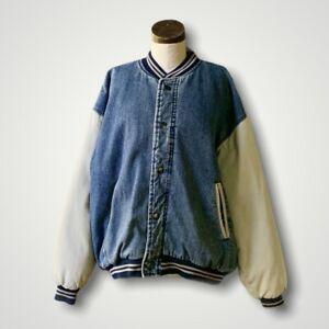 Vintage NORTH BAY 1980s Unisex Varsity Denim Jacket XL