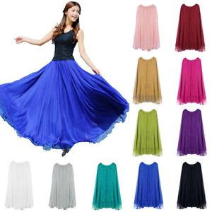 Women-Summer-Elastic-Waist-Chiffon-Maxi-Boho-Beach-Dress-Casual-Long-Solid-Skirt