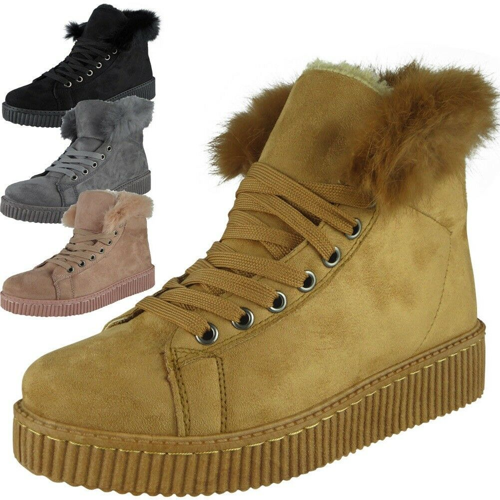 ladies suede flat fur trainers womens pumps slip on hi ankle sneakers lined new