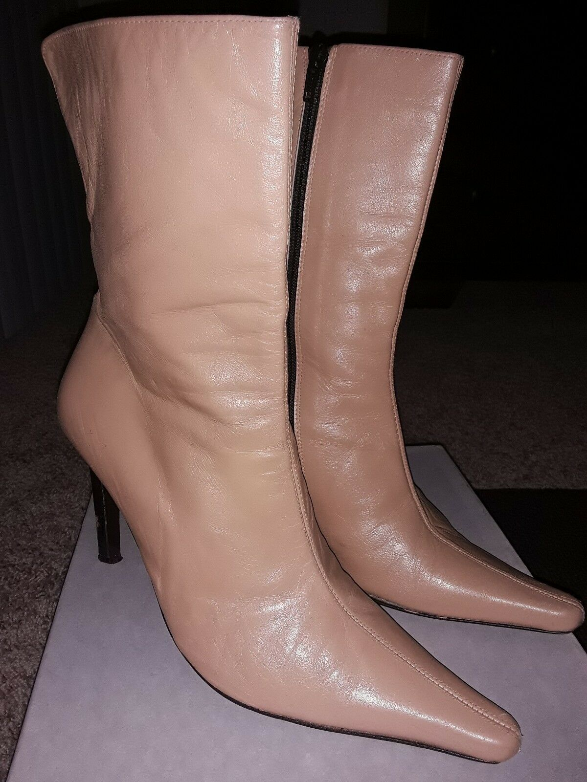 David Arron Beige Leather Booties Size 9 M