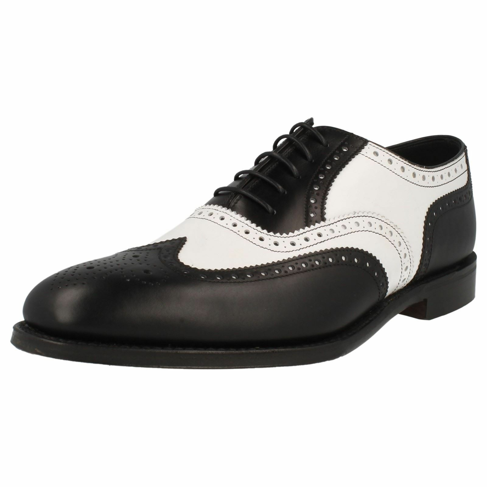 Loake 1880 Sloane Black & White Leather Traditional Brogue Shoes