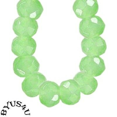 RONDELLE FACETED MILK GLASS BEADS 10x8mm SEMI-TRANSLUCENT GREEN 25pc LARGE BEADS