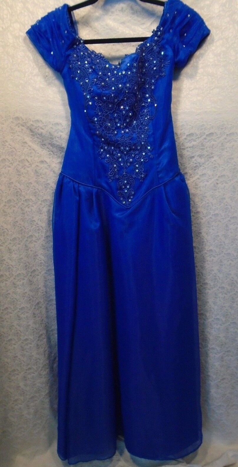 damen Petite Blau Cap Sleeve Full Length Formal Ballroom Prom Dress