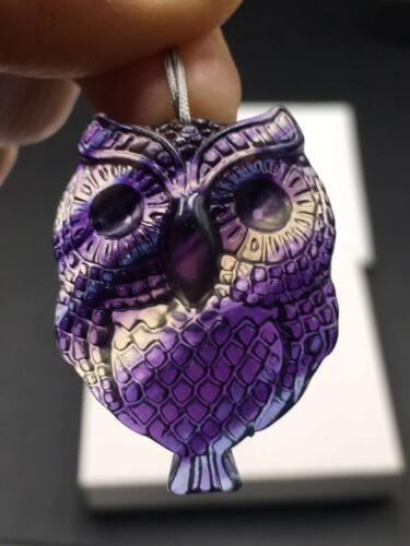Natural Colorful Rainbow Fluorite Quartz Crystal Carved Owl Reiki Pendant Gift
