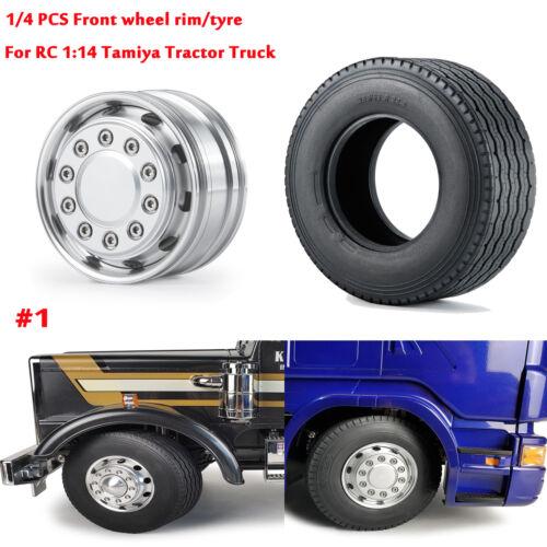 Metal Rear Wheel Rim Hub// Rubber Tyre tire For RC 1:14 Tamiya Tractor Truck