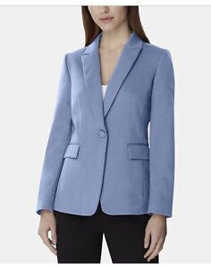 TAHARI ASL Women's Blue Ice Single-button Peak-Lapel Blazer Jacket Top Size 8