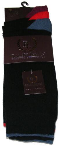3 paires RALPH LEWIS formelle pour homme noir riche coton chaussettes-Couleur Top Talon /& Orteil