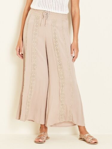 Crossroads Stunning Dark Beige Bohemian Wide Leg Lace Trim Pant Size 20