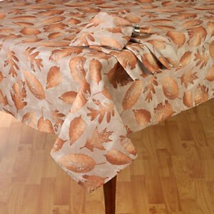 "Shimmery Bronze Fall Leaves Thanksgiving & Fall Decor Tablecloth 70"" Round"