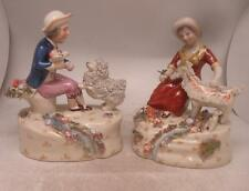 Staffordshire Pottery Figure - Pair of Boy & Girl with Dog / Goat by Stream