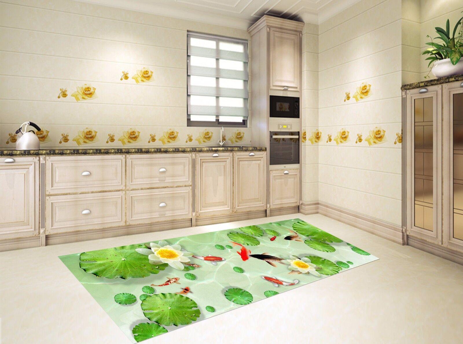 3D Lotus Fish 512 Kitchen Mat Floor Murals Wall Print Wall Deco AJ WALLPAPER UK