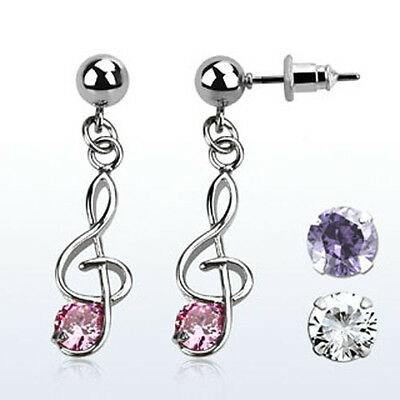 Ball Shaped Steel Helix Ear Stud w/ Dangling CZ Stone Musical Note Cartilage USA