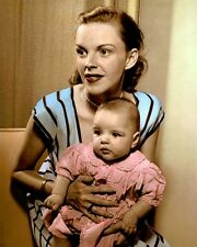 """JUDY GARLAND BABY LIZA MINNELLI 1946 ACTORS 8x10"""" HAND COLOR TINTED PHOTOGRAPH"""