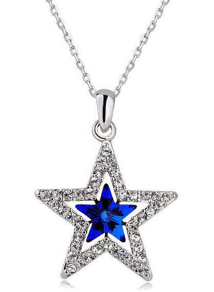 Elegant Silver & Dark Royal Blue Star Shaped Crystal Pendant Necklace N267