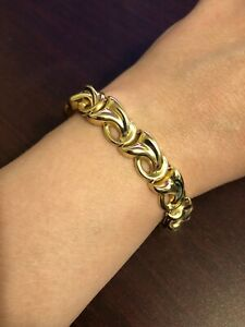 "Genuine 14K Gold Italian Vintage Chunky Bracelet 10mm Wide x 7.5"" Long 25 Grams"