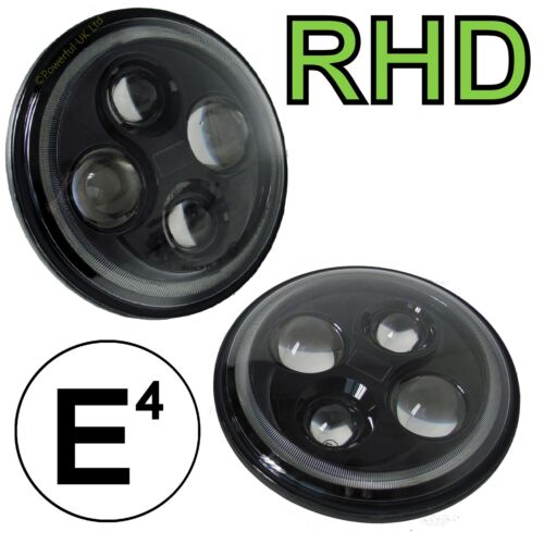 2x Full DEL Black Head Lights for Land Rover Defender RHD UK Lampe Ampoules E Marqué