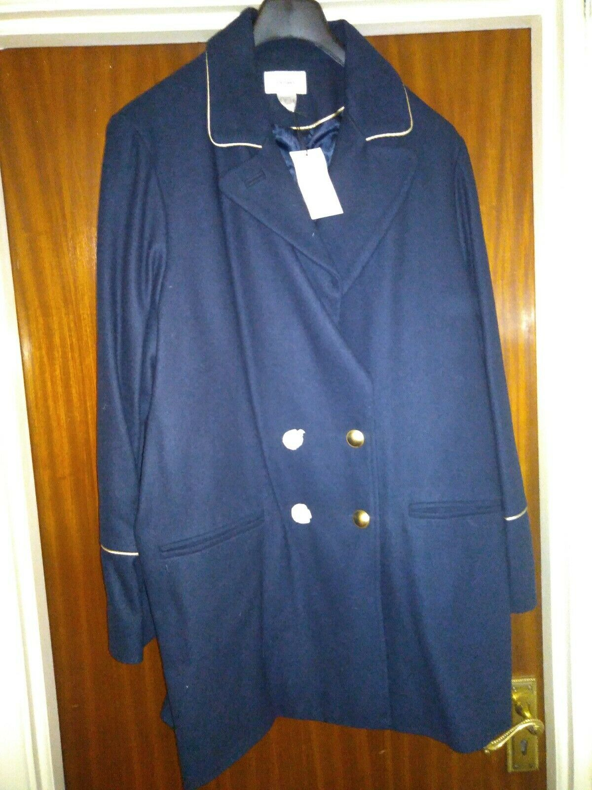 La Redoute Softgrey Wool Blend Navy Military Style Coat Size 22 New With Tags
