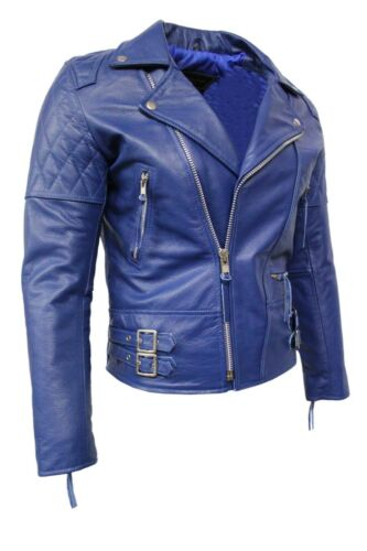Fashion Men/'s Route 66 Royal Blue Real Hide Leather Classic Biker Stylish Jacket