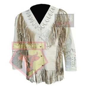 AMERICAN-WESTERN-STYLE-1062-CREAM-FRINGE-BEADED-STUDDED-SUEDE-LEATHER-JACKET