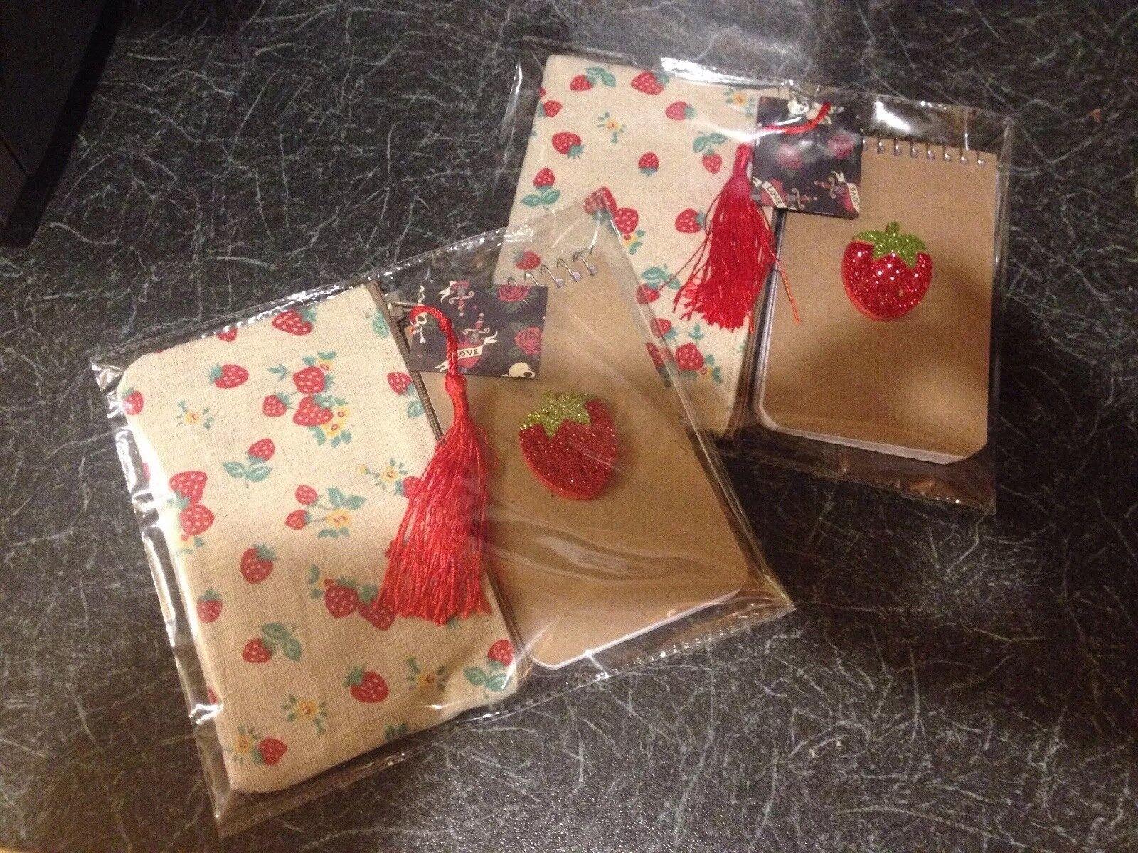 Retro Vintage Strawberry Cosmetic Bag +Glitter Notebook Rockabilly 2pc Gift Set