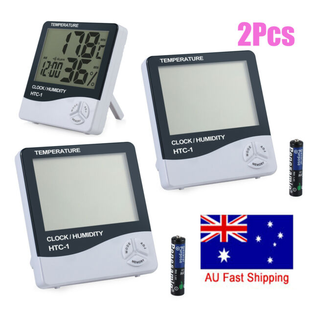 2Pcs Digital LCD Indoor Thermometer Humidity Temperature Hygrometer Meter Clock