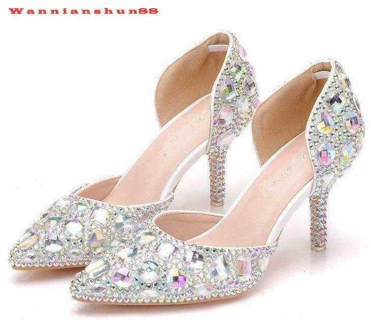 Womens pointy toe Rhinestons slip on high heel Sandal party prom wedding Shoes
