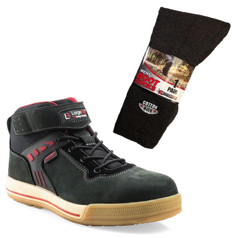 Buckler Largo Bay High-Top Safety Work Boots Black & 1 Pair of Socks