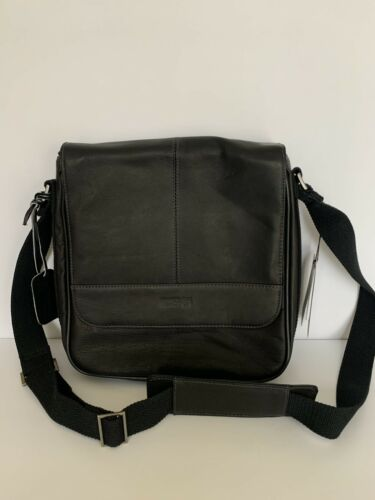 Kenneth Cole Men's Black Leather Sling Crossbody W