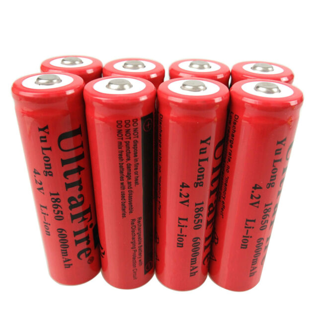 8X 18650 Li-ion Batteries 6000mAh 3.7V Rechargeable Battery for Flashlight Torch