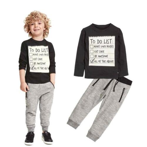 Toddler Kids Baby Boy Long Sleeve T-shirt Tops Pants Tracksuit Outfits Clothes