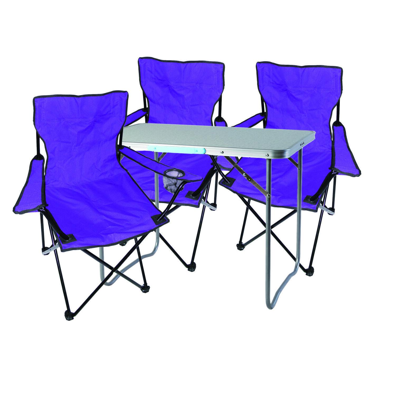 4-tlg. lila Campingmöbel Set, Tisch mit Tragegriff und Campingstuhl mit Tasche