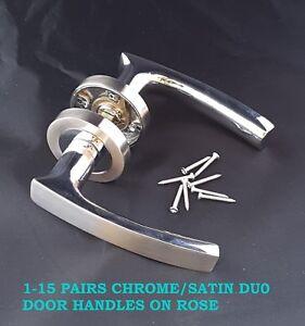 1-15 Sets Chrome & Satin Intérieur Moderne Poignées De Porte Sur Rose Livraison Gratuite D3-afficher Le Titre D'origine Pour ExpéDition Rapide