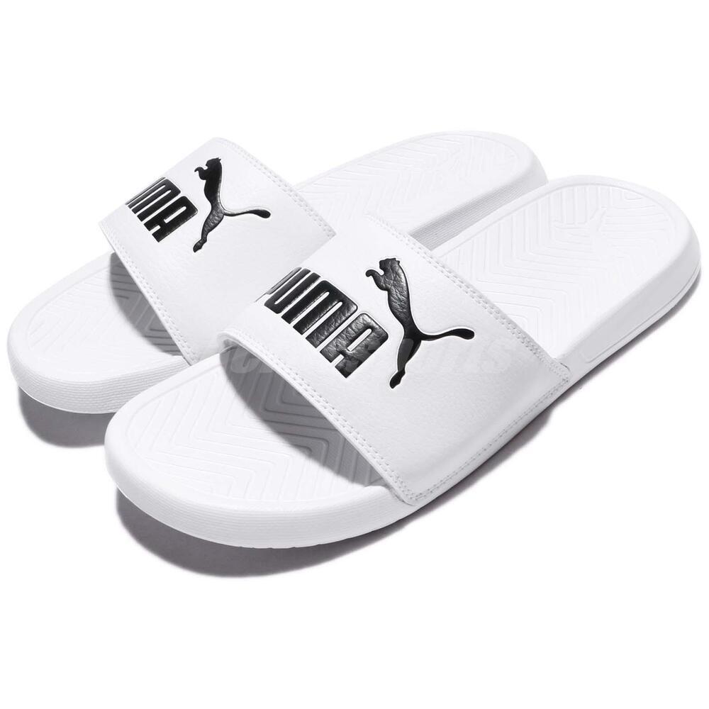 Puma Popcat Big Logo blanc noir homme Sports Sandal Slippers Slides 36026512
