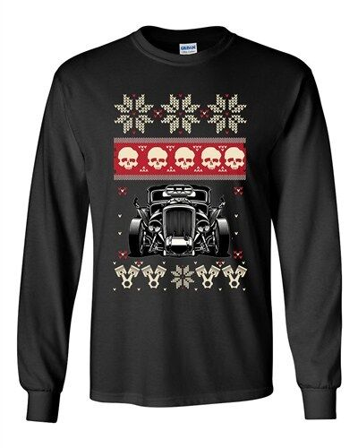 Long Sleeve Adult T-Shirt Skull Vintage Car Race Ugly Christmas Holiday Funny DT