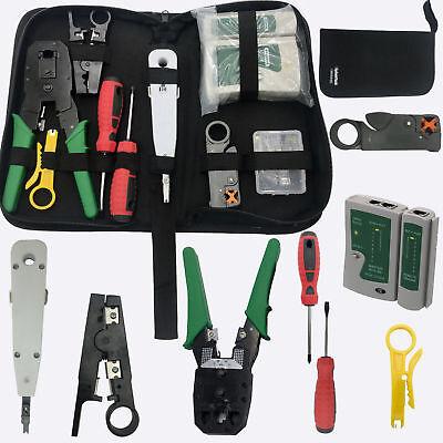 Rj45 Cavo Di Rete Ethernet Tester Crimpare Crimper Stripper Cutter Tool Kit Set- Durevole In Uso