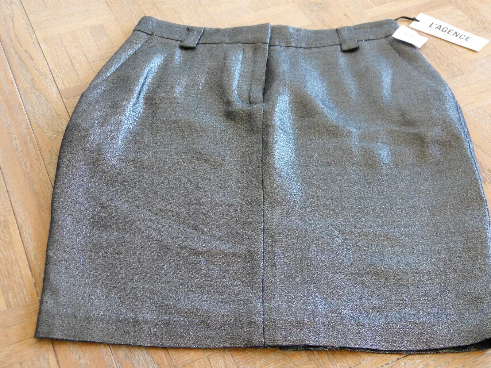 NWT L'Agence Couture Women's Size S Metallic Pewter Cotton Pencil Skirt  312 MS