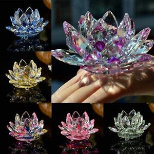 Details About 80mm Ornaments Wedding Flower Paperweight Crystal Lotus Glass Flower Crafts