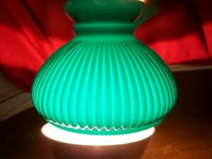 Oil lamp kerosene student lamp shade green ribbed cased glass image is loading oil lamp kerosene student lamp shade green ribbed aloadofball Image collections