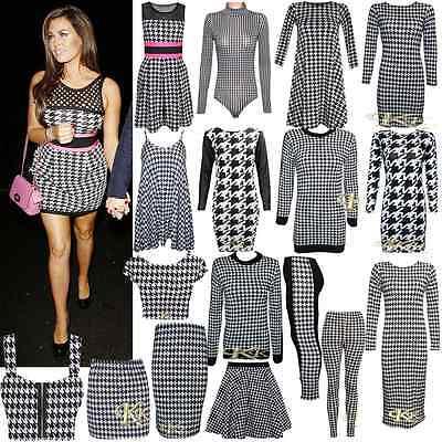New Women Stylish Dog Tooth Print Bodysuit/Tunic//Crop Top/Skirts By k k 8-26