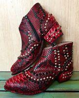 Free People Red Black Snakeskin Print Western Jewel Ankle Boots 37/ 6.5-7