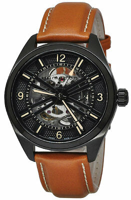 53e7c2ed6 Hamilton Khaki Field Skeleton Automatic Brown Leather Men's Watch H72585535  New